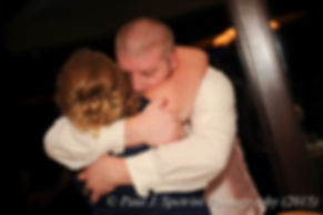 Adam hugs Kerry's maid of honor at his fall wedding at Quidnessett Country Club in North Kingstown, Rhode Island on October 23rd, 2015.