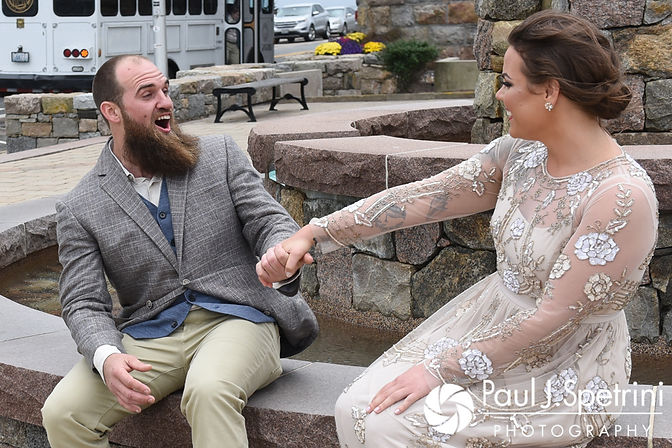 Gary reacts to seeing Arielle during their first look prior to their September 2017 wedding ceremony at North Beach Club House in Narragansett, Rhode Island.