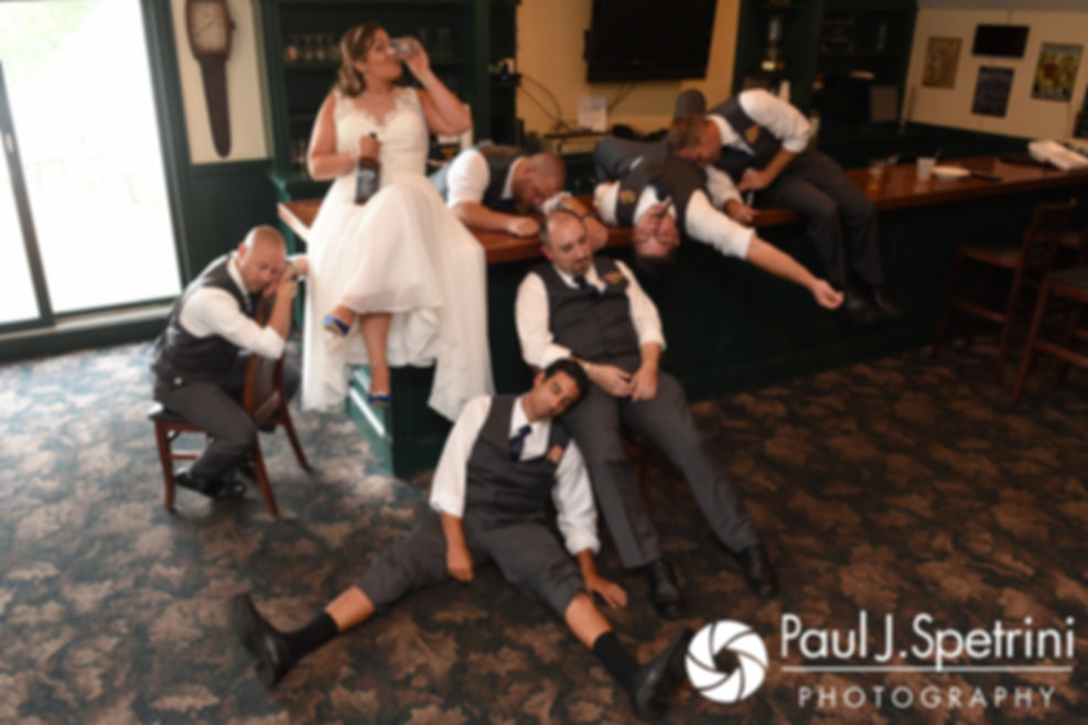 Toni and Scott's groomsmen pose for a photo prior to her August 2017 wedding ceremony at Crystal Lake Golf Club in Mapleville, Rhode Island.