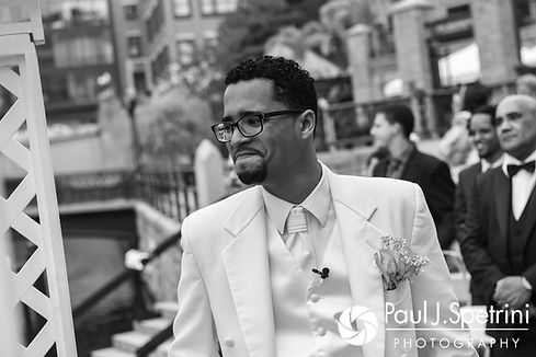 Luis sees Lucelene for the first time during his June 2017 wedding ceremony at Waterplace Park in Providence, Rhode Island.