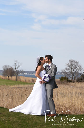 Sam & Katie pose for a formal photo prior to their April 2018 wedding reception at Quidnessett Country Club in North Kingstown, Rhode Island.