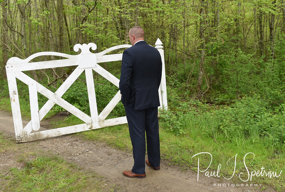 Mike waits for Ryan to arrive for their first look prior to his May 2018 wedding ceremony at Bittersweet Farm in Westport, Massachusetts.