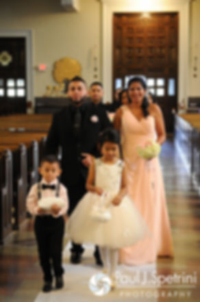 The wedding party arrives to Maria and Sebastian's March 2016 Rhode Island wedding at the Church of St. John the Baptist in Pawtucket, Rhode Island.