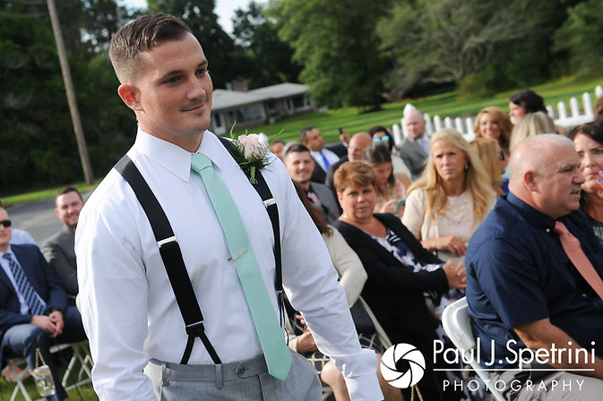 Sean walks down the aisle during his July 2017 wedding ceremony at Rachel's Lakeside in Dartmouth, Massachusetts.