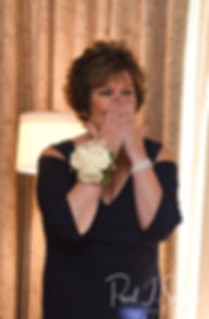 Justine's mom reacts to seeing her in her wedding dress prior to her October 2018 wedding ceremony at Twelve Acres in Smithfield, Rhode Island.