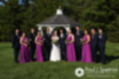 Alex and Alyssa pose for a formal photo with their wedding party prior to their August 2016 wedding reception at LeBaron Hills Country Club in Lakeville, Massachusetts.