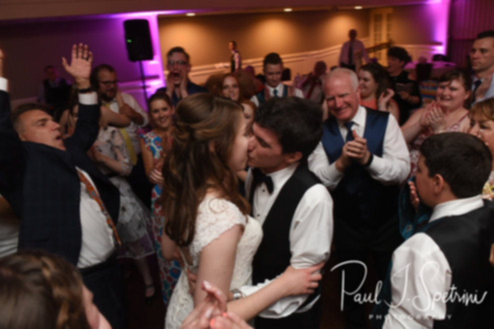 Brian & Sarah kiss during their June 2018 wedding reception at Pleasant Valley Country Club in Sutton, Massachusetts.