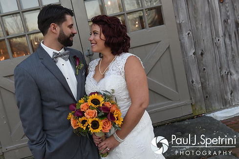 Crystal and Andy smile for a formal photo prior to their November 2016 wedding reception at the Salem Cross Inn in West Brookfield, Massachusetts.