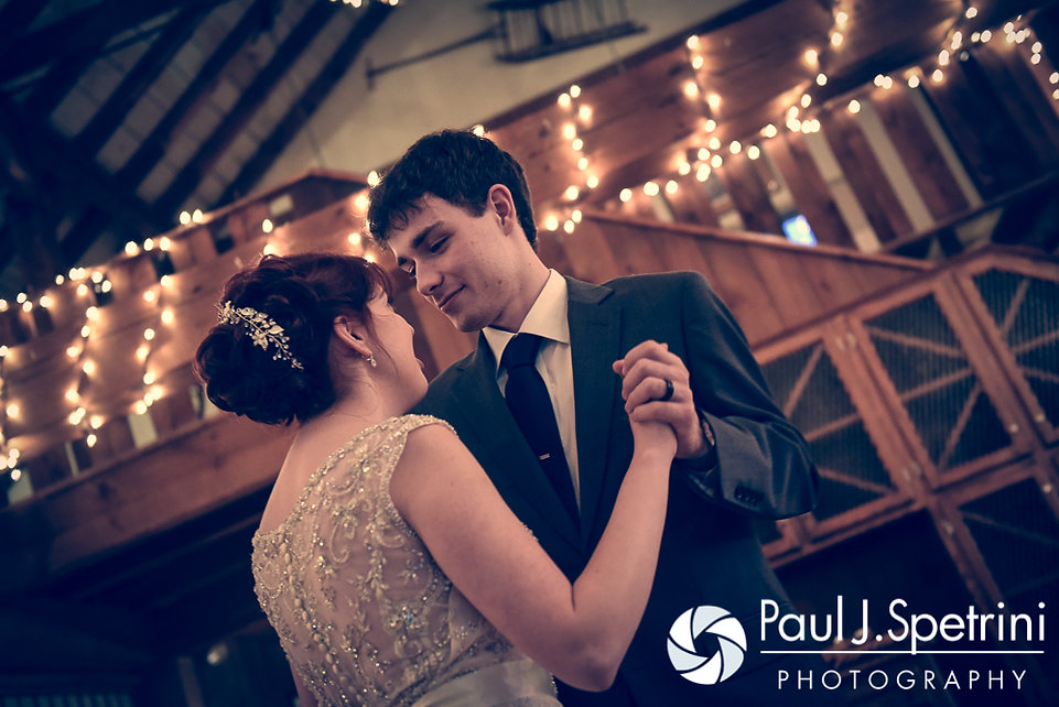 Ellen and Jeremy have their first dance during their May 2016 wedding reception at Bittersweet Farm in Westport, Massachusetts.