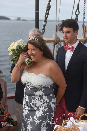 Kate walks down the aisle during her May 2018 wedding ceremony aboard the Schooner Aurora boat in the waters off Newport, Rhode Island.