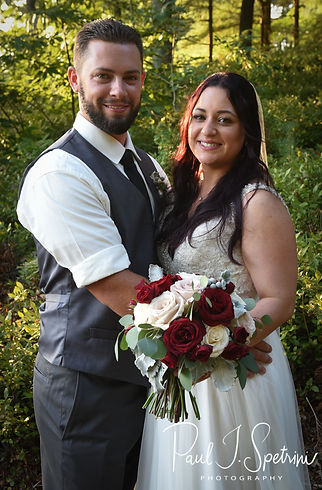 Lizzy & Gabe pose for a formal photo following their September 2018 wedding ceremony at Crystal Lake Golf Club in Mapleville, Rhode Island.