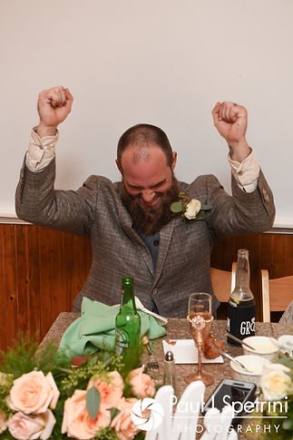 Gary reacts to the best man's speech during his September 2017 wedding reception at North Beach Club House in Narragansett, Rhode Island.