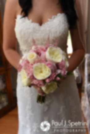 A look at Lauryn's flowers and dress prior to her July 2016 wedding at St. Paul the Apostle Catholic Church in Foster, Rhode Island.