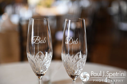 Bob and Debbie's champagne glasses are on display prior to their June 2016 wedding reception at DeWolf Tavern in Bristol, Rhode Island.