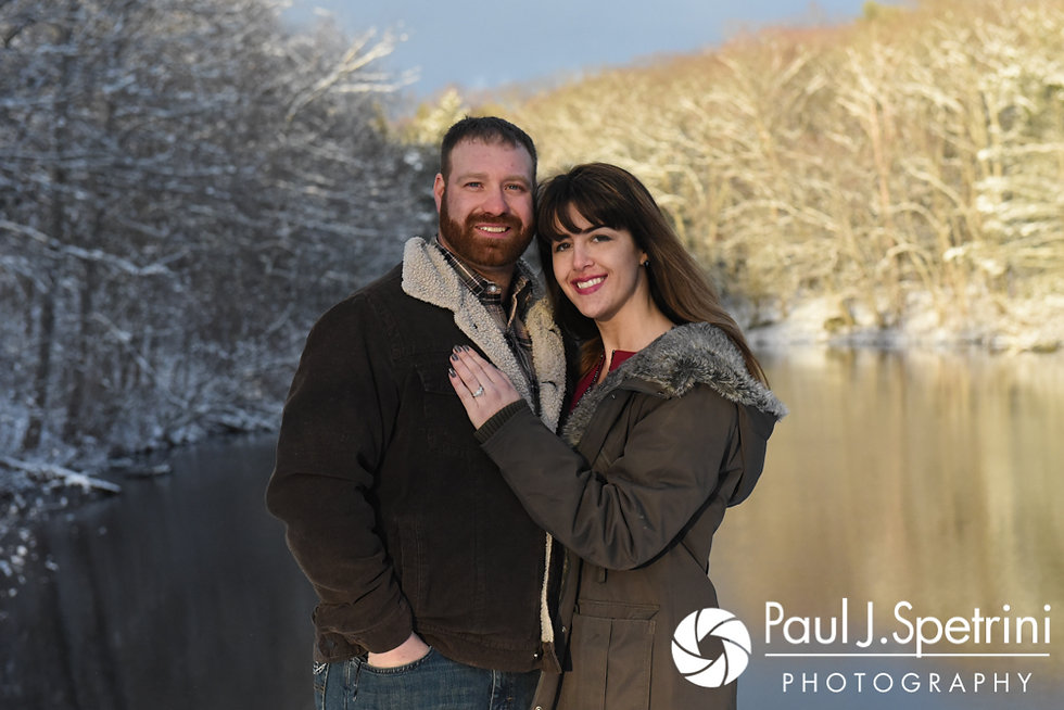 Samantha & Dale smile for a photo during their January 2017 Engagement Photo Session at Cat Hollow Park in Killingly, Connecticut.