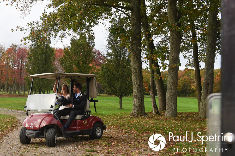 Kevin and Joanna leave on a golf cart following their formal photo session during their October 2017 wedding at Cranston Country Club in Cranston, Rhode Island.