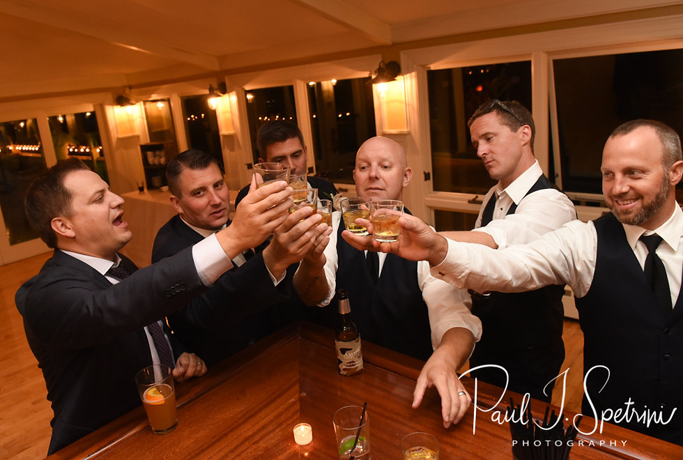 Brian drinks with his groomsmen during his September 2018 wedding reception at Squantum Association in Riverside, Rhode Island.