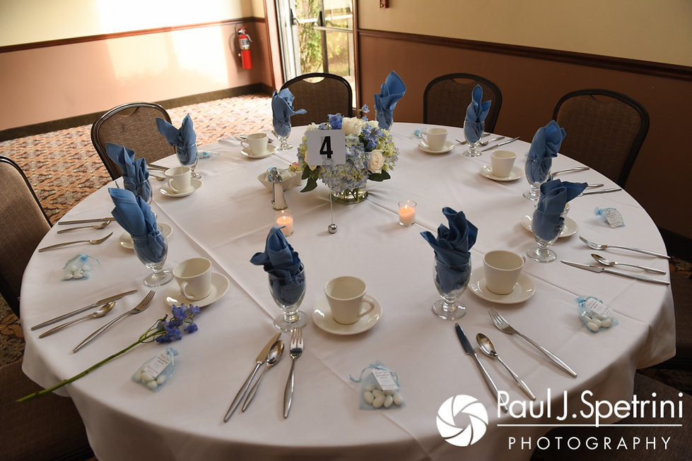 A look at the table settings prior to Kevin and Joanna's October 2017 wedding reception at Cranston Country Club in Cranston, Rhode Island.