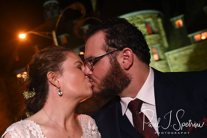Rob & Allie pose for a formal photo during their October 2018 wedding reception at The Towers in Narragansett, Rhode Island.
