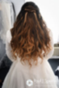 A look at Lisajean's hair prior to her October 2016 wedding ceremony at St. Thomas More Church in Narragansett, Rhode Island.