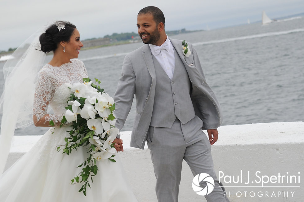 Nashua and Nader share a moment during a formal photo following their July 2017 wedding ceremony at Belle Mer in Newport, Rhode Island.
