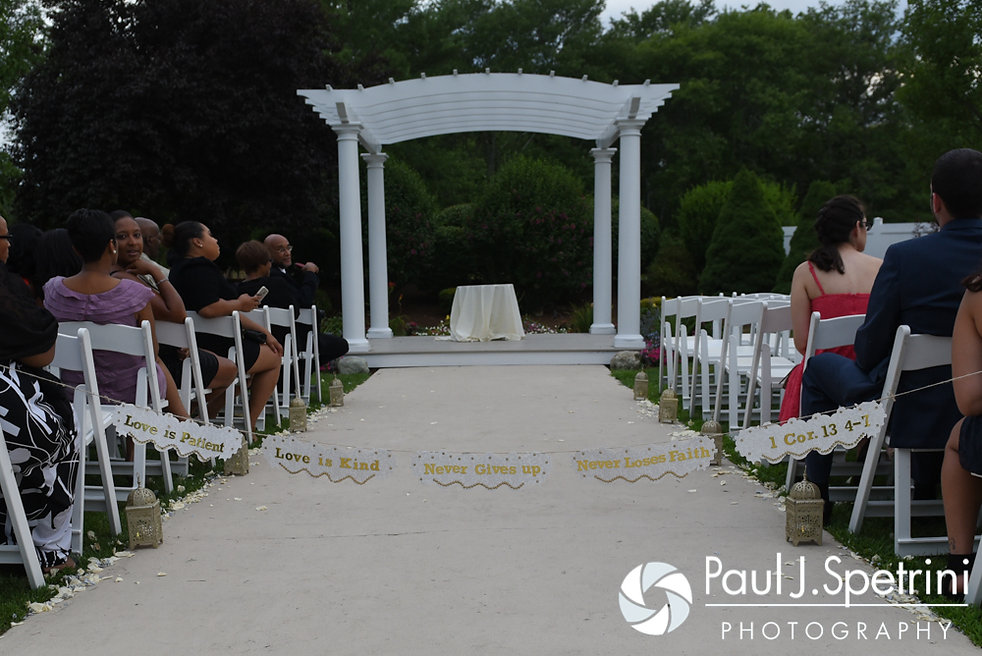 A look at Kemi and Warren's ceremony site prior to their August 2016 wedding reception at the Villa at Riddler Country Club in East Bridgewater, Massachusetts.