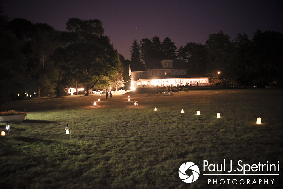 A look at the outside decorations on display during Rebecca and Kelly's August 2017 wedding reception in Warwick, Rhode Island.