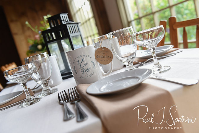 A look at the place settings prior to Ryan & Mike's May 2018 wedding reception at Bittersweet Farm in Westport, Massachusetts.
