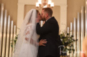 Cara and Brandon kiss during their November 2018 wedding ceremony at First Baptist Church in Hope Valley, Rhode Island.