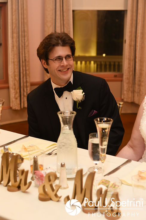 Len smiles during a toast during his September 2017 wedding reception at the Roger Williams Park Casino in Providence, Rhode Island.