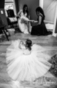 Lizzy and her flowergirl get ready prior to her September 2018 wedding ceremony at Crystal Lake Golf Club in Mapleville, Rhode Island.