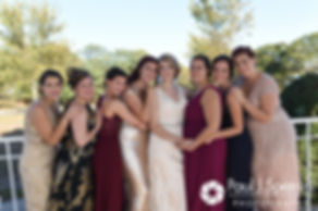 Rachel poses for a photo with her bridesmaids prior to her October 2017 wedding ceremony at Castle Manor Inn in Gloucester, Massachusetts.