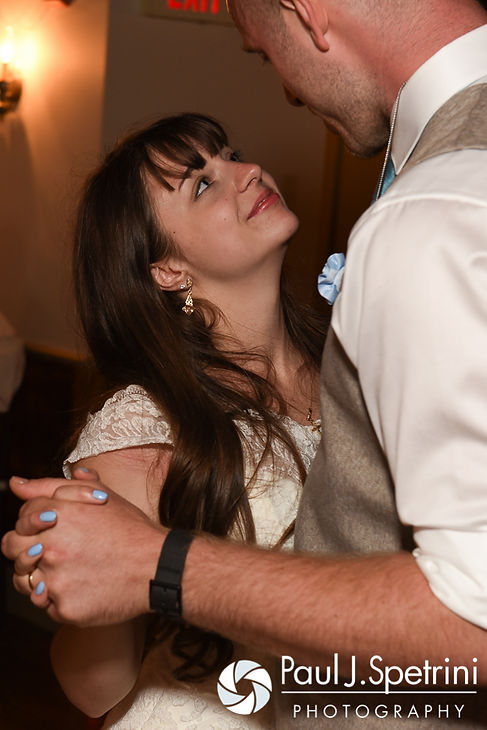 Krystal and Ian share their first dance as husband and wife during their May 2016 wedding reception at DeWolf Tavern in Bristol, Rhode Island.