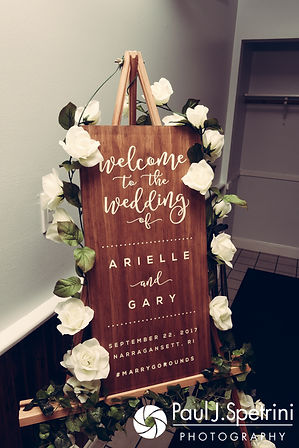 A sign welcomes guests to Arielle and Gary's September 2017 wedding ceremony at North Beach Club House in Narragansett, Rhode Island.