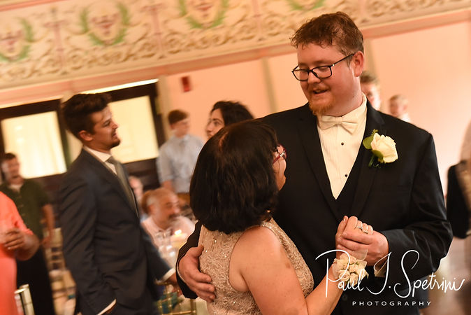 Mark and his mother-in-law dance during his August 2018 wedding reception at the Roger Williams Park Casino in Providence, Rhode Island.