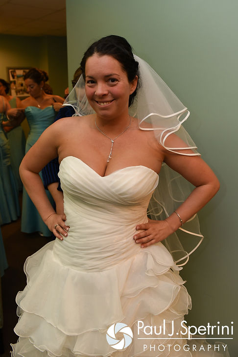 Kelly poses for a photo in her dress prior to her November 2016 wedding ceremony at the Bay Pointe Club in Buzzards Bay, Massachusetts.