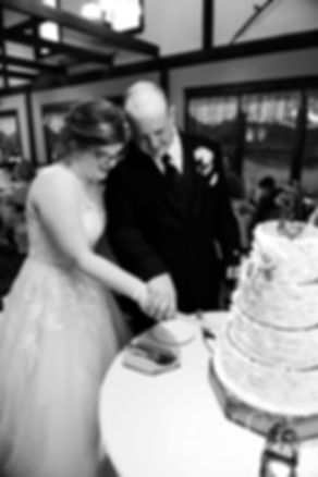 Zach and Kelly cut the cake during their June 2018 wedding reception at Blissful Meadows Golf Club in Uxbridge, Massachusetts.