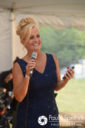 Rebecca's matron of honor gives a speech during Rebecca and Kelly's August 2017 wedding reception in Warwick, Rhode Island.