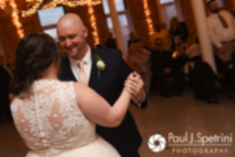 Meridith and Matthew share their first dance during their May 2017 wedding reception at the Hope Artiste Village in Pawtucket, Rhode Island.