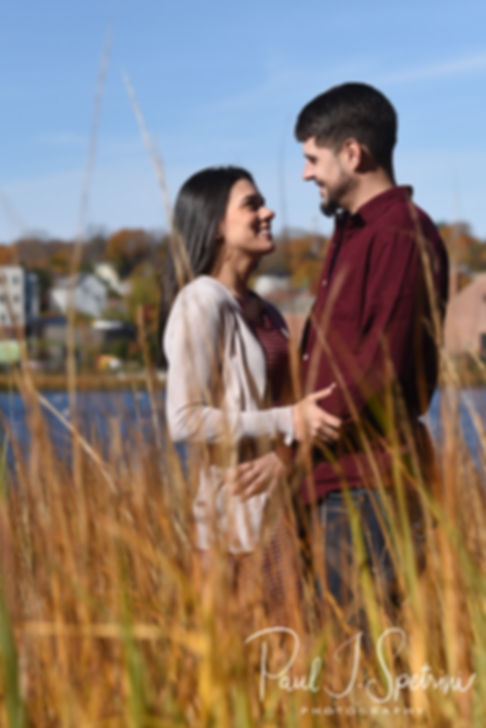Jill & Josh pose for a photo during their November 2018 engagement session at Goddard Park in East Greenwich, Rhode Island.