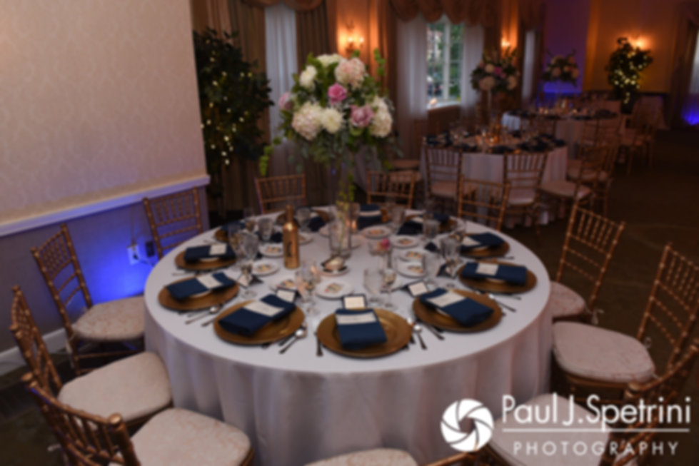 A look at the tables prior to Stephany and Arten's September 2017 wedding reception at Wannamoisett Country Club in Rumford, Rhode Island.