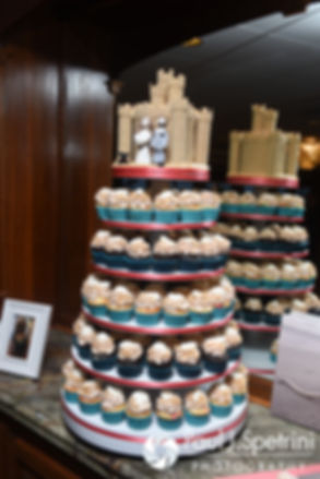 A look at Marissa and Paul's wedding cake on display during their September 2016 wedding reception at the Aqua Blue Hotel in Narragansett, Rhode Island.