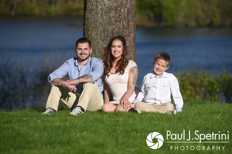 Stacey and John pose for a photo with Stacey's son at Roger Williams Park in Providence, Rhode Island during their May 2017 engagement shoot.