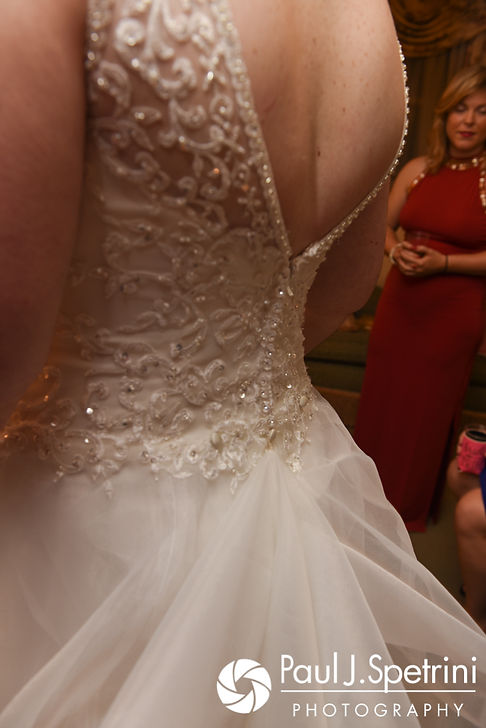 A look at the back of Allison's dress prior to her September 2017 wedding ceremony at the Roger Williams Park Casino in Providence, Rhode Island.