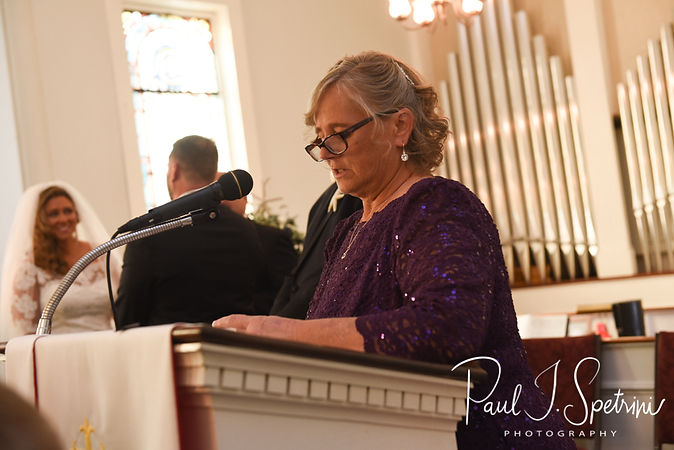 Brandon's mom speaks during his November 2018 wedding ceremony at First Baptist Church in Hope Valley, Rhode Island.