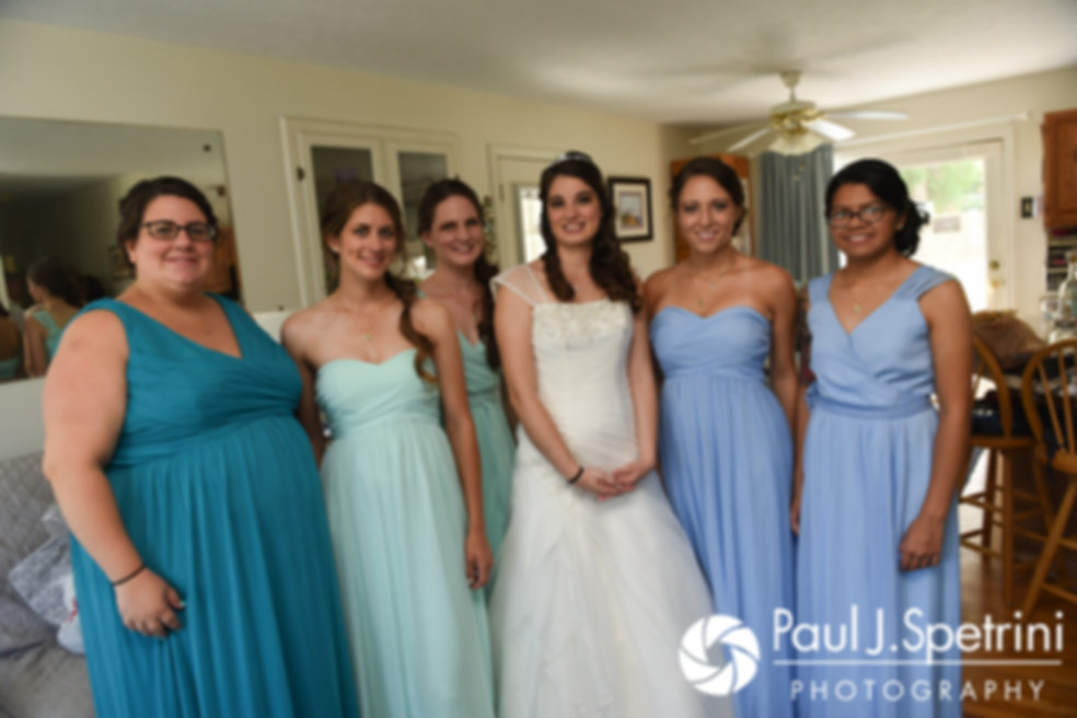 Gianna and her bridesmaids pose for a photo prior to her July 2017 wedding ceremony at Peace Dale Congregational Church in South Kingstown, Rhode Island.