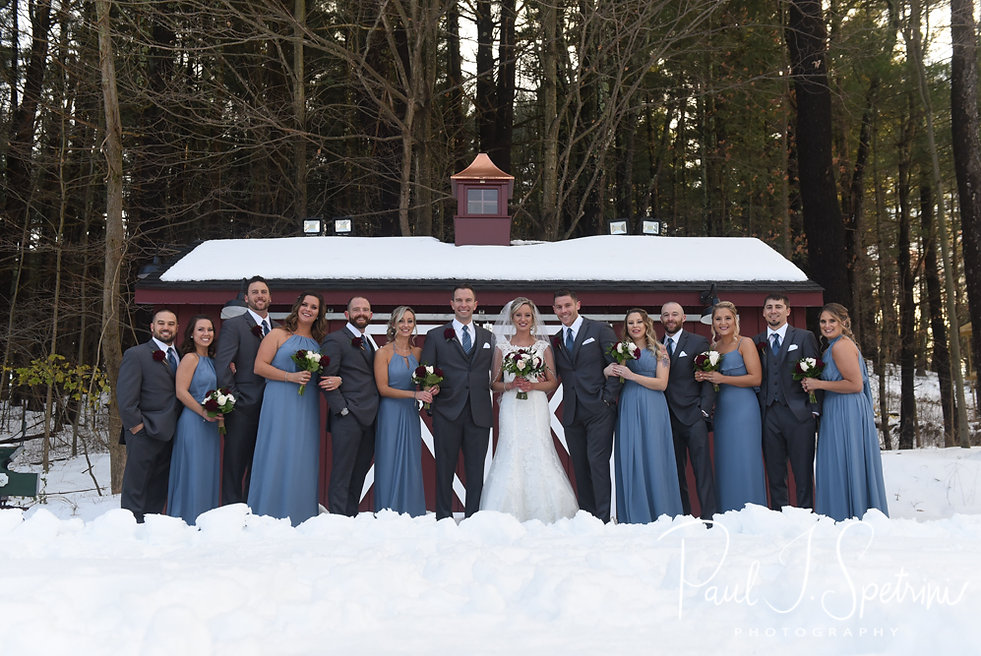 Nicole and Kurt pose for a photo with their wedding party prior to their November 2018 wedding ceremony at the Publick House Historic Inn in Sturbridge, Massachusetts.