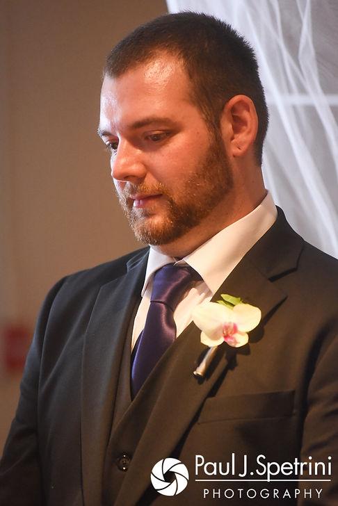 Jeffrey looks at Clarissa during her June 2017 wedding ceremony at Twelve Acres in Smithfield, Rhode Island.