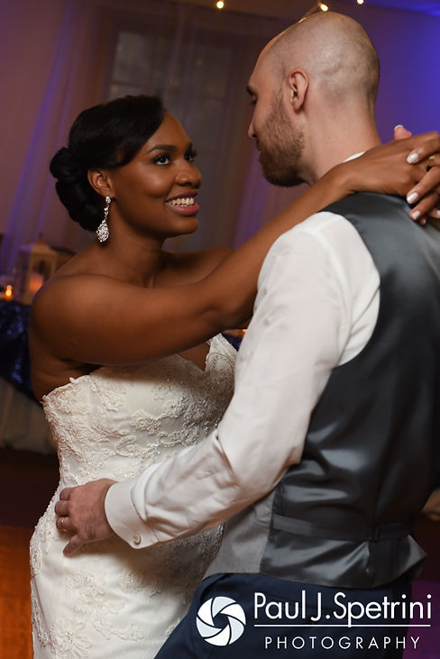 Jennifer and Mark dance during their September 2016 wedding reception at the RI Shriners and Imperial Room at Rhodes Place in Providence, Rhode Island.