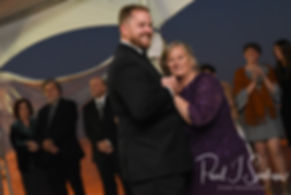 Brandon and his mother dance during his November 2018 wedding reception at the North Beach Clubhouse in Narragansett, Rhode Island.